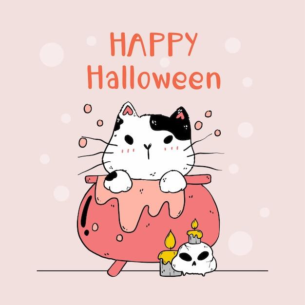 Lindo gato de halloween en una olla de veneno con calavera de gato y vela, arte de gatito divertido gato con silueta para tarjeta de felicitación, sublimación, pegatina Vector Premium
