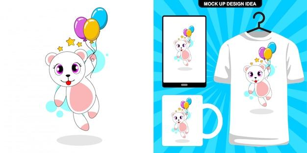 Lindo gato con ilustración de dibujos animados de globos y diseño de merchandising Vector Premium