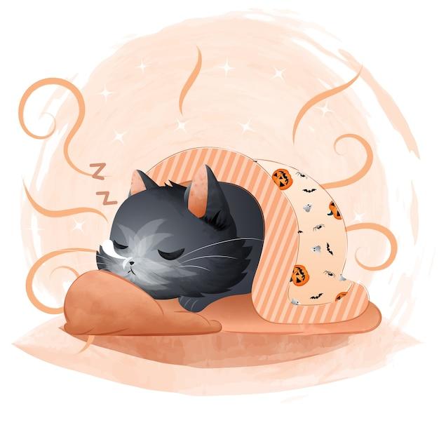 Lindo gato negro durmiendo con una manta de patrón de halloween. Vector Premium