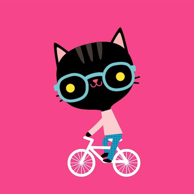 Lindo gato negro librar en bicicleta en estilo plano Vector Premium