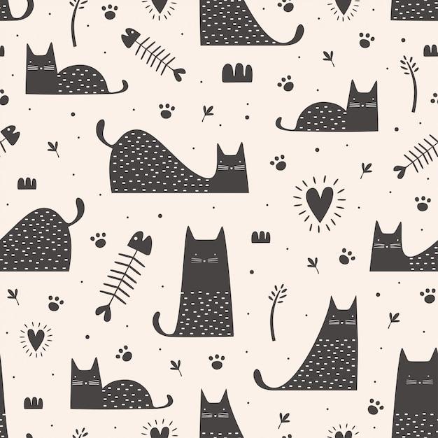 Lindo gato negro de patrones sin fisuras con dibujado a mano infantil Vector Premium