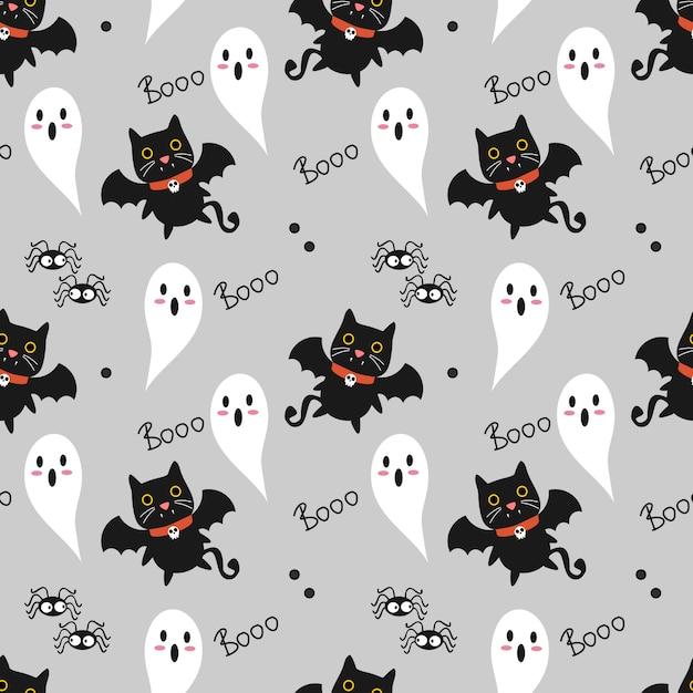 Lindo gato vampiro de patrones sin fisuras Vector Premium