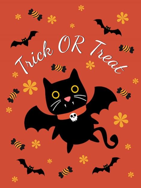 Lindo gato vampiro para la tarjeta de felicitación de halloween. Vector Premium