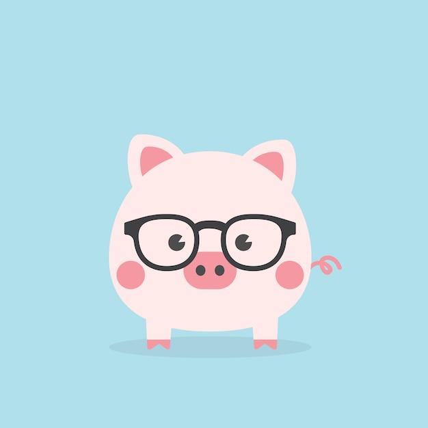 Lindo geek guarro, año del cerdo. Vector Premium