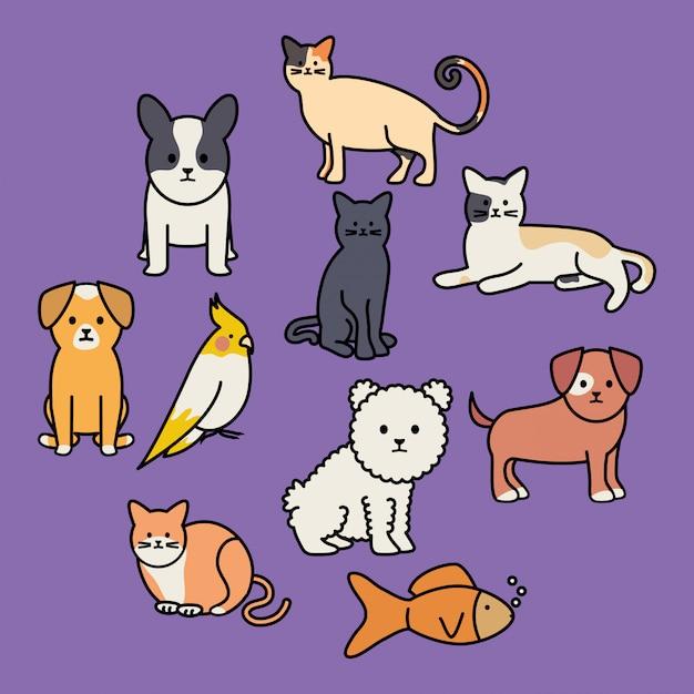 Lindo grupo de mascotas adorables personajes. vector gratuito