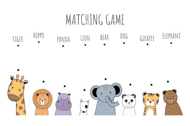 Lindo juego de combinación de dibujos animados de animales adorables para niños y educación Vector Premium