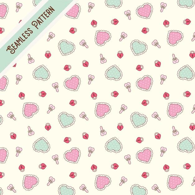Lindo kawaii corazones y llaves de patrones sin fisuras Vector Premium