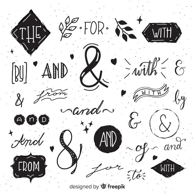 Lindo lema de boda dibujado a mano vector gratuito
