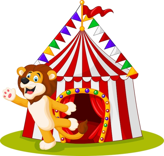 Lindo león agitando la mano en el frente de la carpa de circo Vector Premium