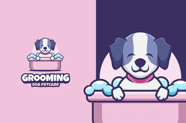 Lindo logotipo de dibujos animados de cuidado de mascotas de perro de aseo Vector Premium