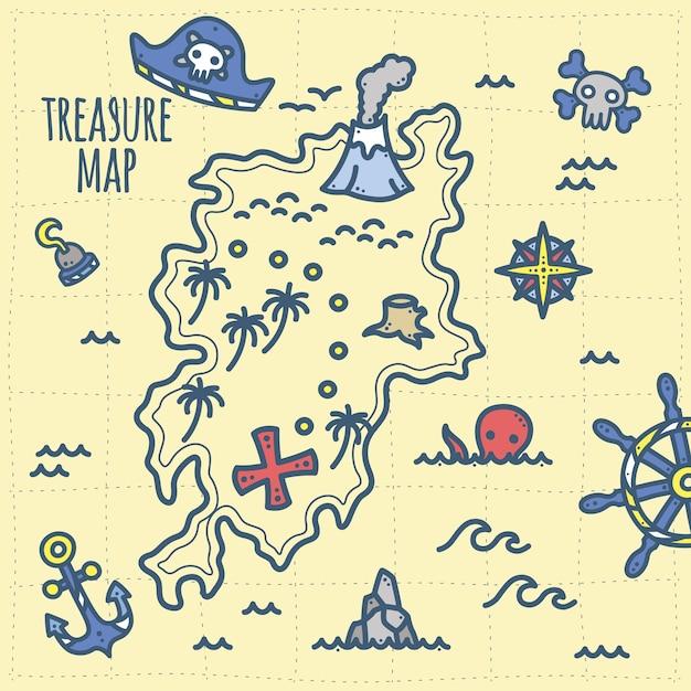 Mapa Del Tesoro Pirata Para Niños.Lindo Mapa Pirata De Tesoros Y Aventuras Para Ninos Vector