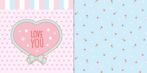 Lindo marco de forma de corazón kawaii con corazones y cerezas sin patrón transparente Vector Premium