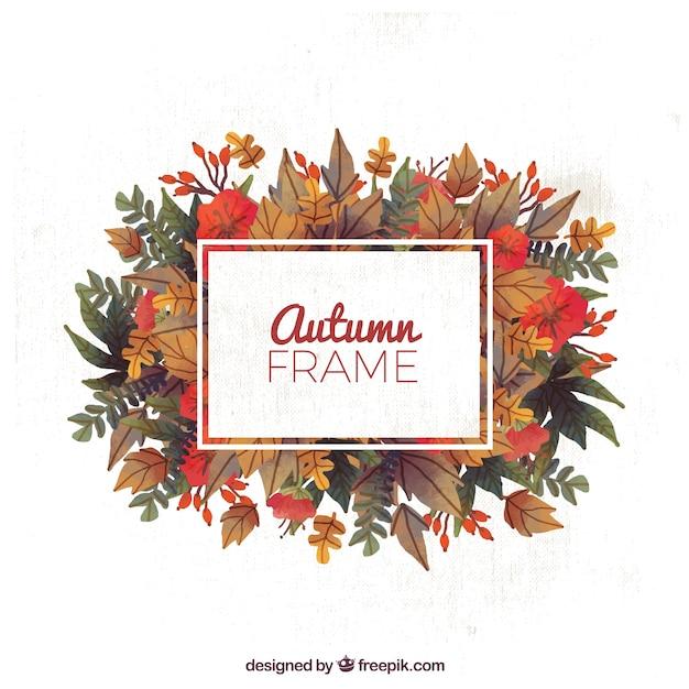 Lindo marco con hojas de otoño vector gratuito