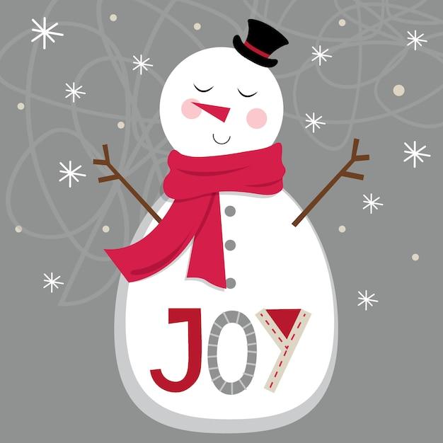 Lindo muñeco de nieve sobre fondo plateado y carta de alegría Vector Premium