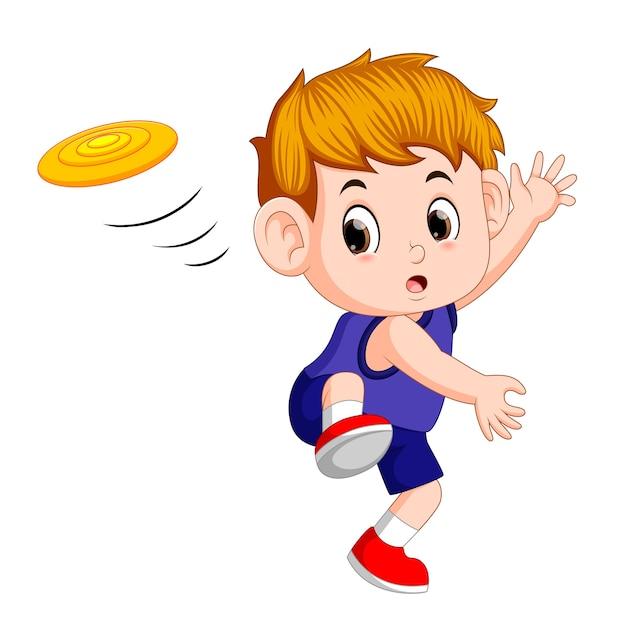 Lindo niño jugando con frisbee Vector Premium