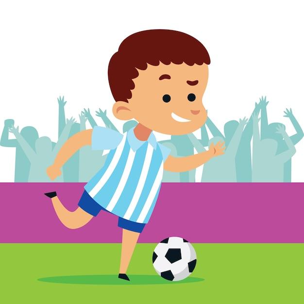 Lindo Nino Jugando Futbol Futbol Descargar Vectores Premium