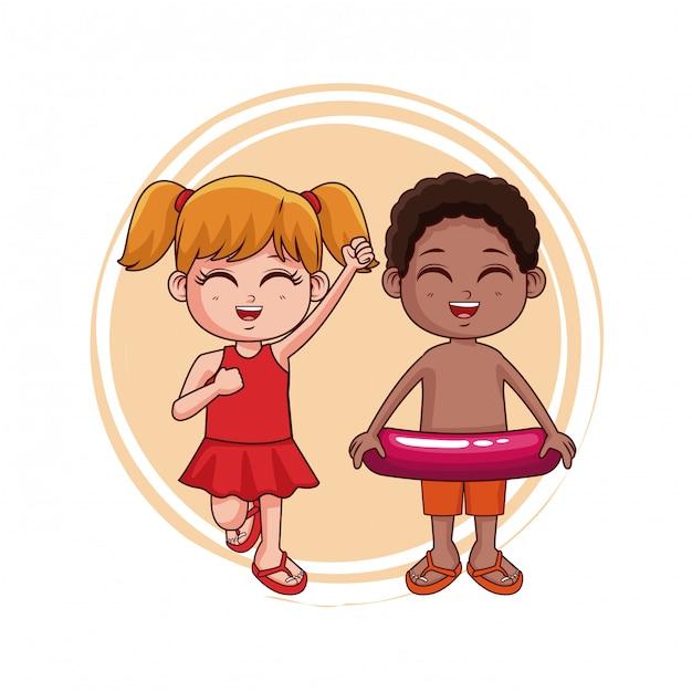 9adc8b885923 Lindo niño y niña con dibujos animados traje de baño | Descargar ...