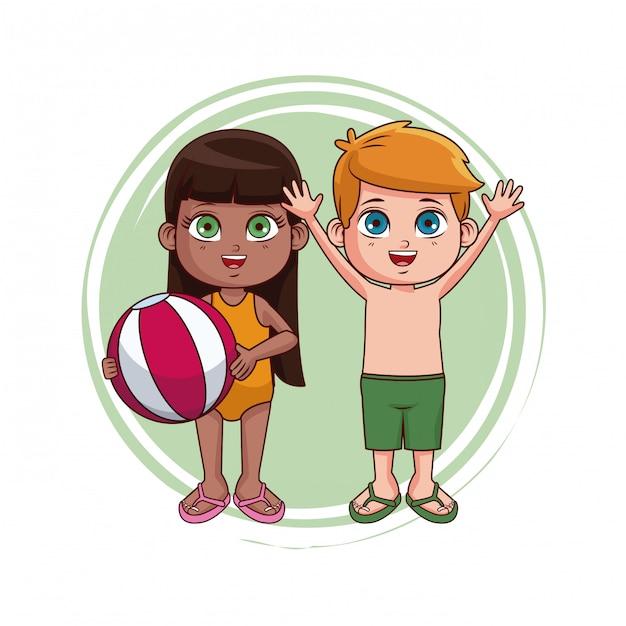 969bc7386 Lindo niño y niña con dibujos animados traje de baño Vector Premium