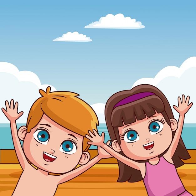 f9cd0f9aa Lindo niño y niña en dibujos animados de verano playa