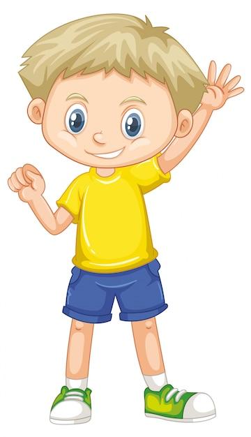 Lindo niño sonriente feliz aislado en blanco vector gratuito