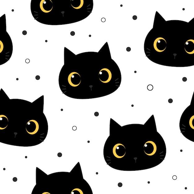 Lindo ojo grande gato negro gatito dibujos animados doodle de patrones sin fisuras Vector Premium