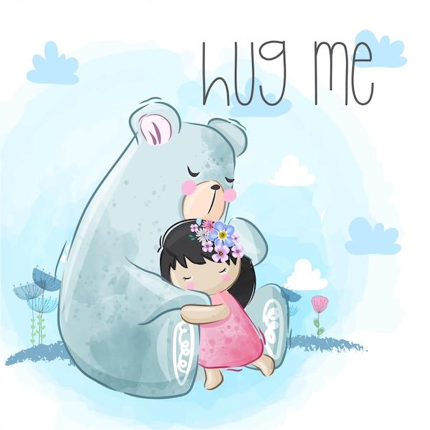 Lindo oso abraza a la niña liitle Vector Premium