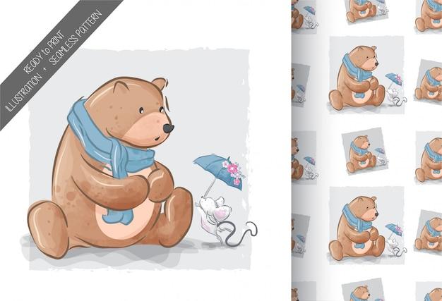 Lindo oso con bebé ratón ilustración de patrones sin fisuras Vector Premium