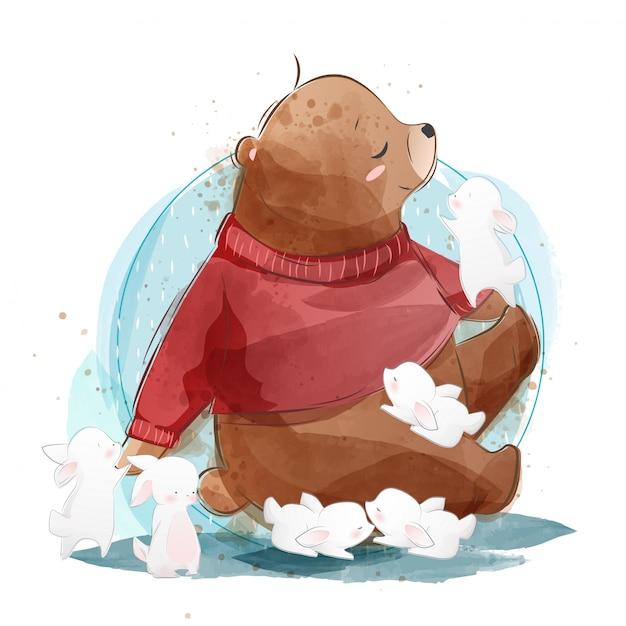 Lindo oso con conejitos Vector Premium
