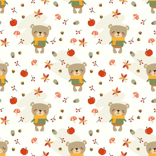 Lindo oso y hojas de otoño de patrones sin fisuras. Vector Premium