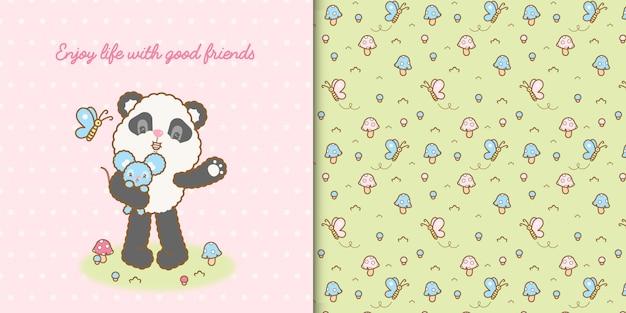 Lindo oso panda kawaii y ratón con patrones sin fisuras premium Vector Premium