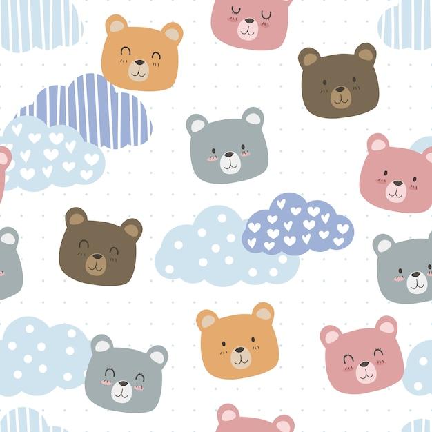 Lindo oso de peluche con dibujos animados de nube doodle de patrones sin fisuras Vector Premium