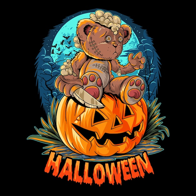 Un lindo oso de peluche de halloween con un cuchillo sentado sobre una calabaza Vector Premium