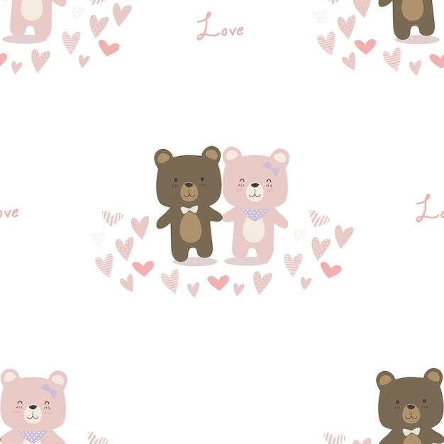 Lindo oso de peluche pareja amante dibujos animados doodle de ...