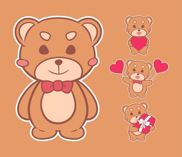 Lindo oso peluche san valentín dibujado mano ilustración Vector Premium