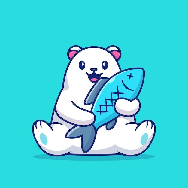 Lindo oso polar con ilustración de icono de pez grande. concepto de icono de amor animal. Vector Premium