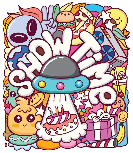 Lindo ovni alienígena con varios objetos doodle art Vector Premium