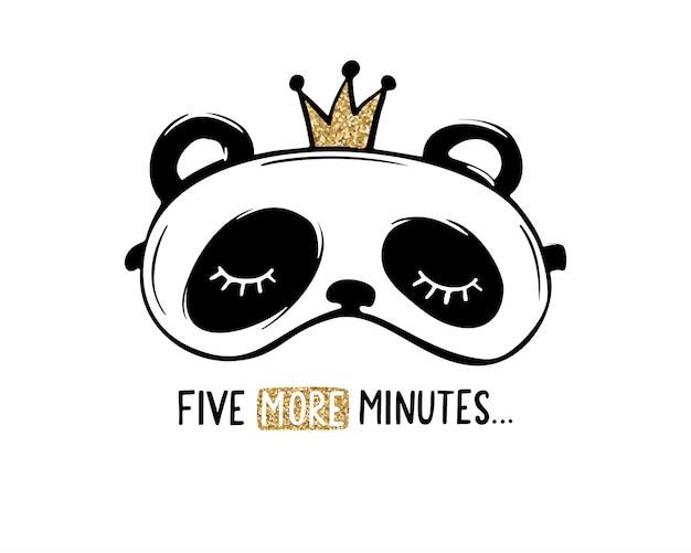 Lindo panda con antifaz corona. tarjeta de fiesta de pijamas. diseño de brillo dorado. Vector Premium