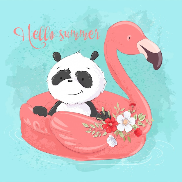 Lindo panda en un círculo inflable en forma de flamencos, ilustración en estilo de dibujos animados Vector Premium