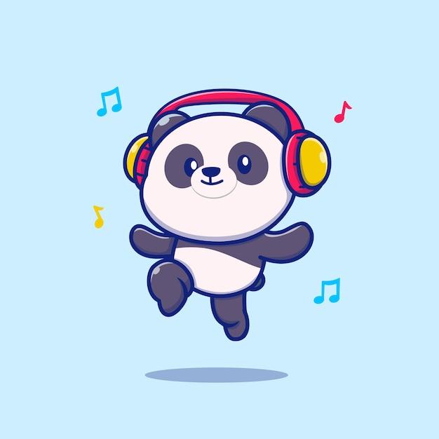 Lindo panda escuchando música con auriculares vector gratuito