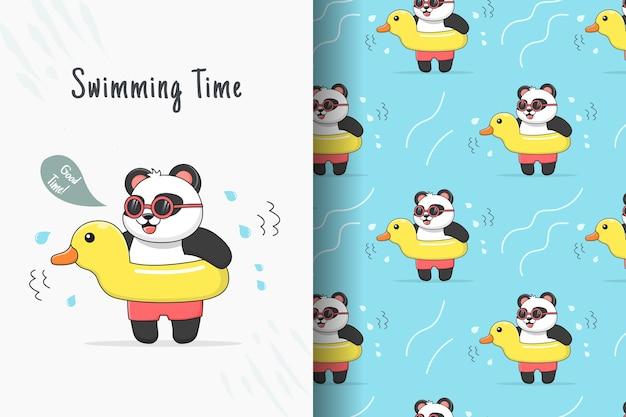 Lindo panda nadando con tarjeta y patrón sin costuras de pato de goma amarillo Vector Premium