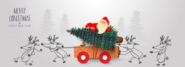 Lindo papá noel con árbol de navidad en camioneta de madera empujando por renos de dibujos animados con motivo de la celebración de feliz navidad y feliz año nuevo. Vector Premium