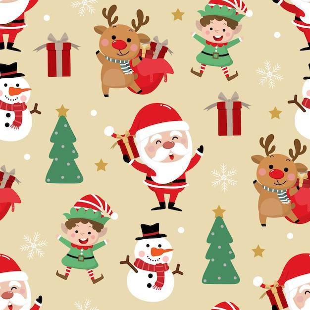Lindo papá noel, muñeco de nieve, ciervos, regalo, duende y árbol de navidad de patrones sin fisuras Vector Premium