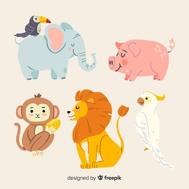 Lindo paquete de animales ilustrados vector gratuito