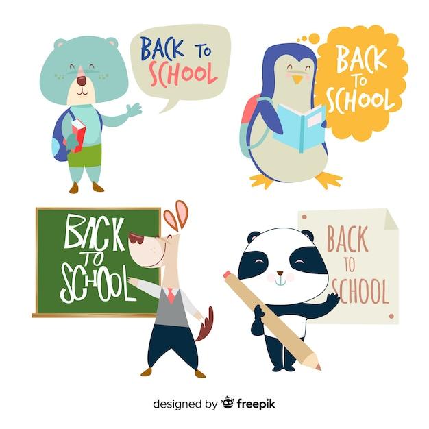 Lindo paquete de animales de regreso a la escuela kawaii vector gratuito