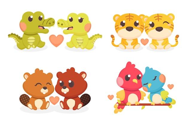 Lindo paquete de pareja de animales del día de san valentín vector gratuito