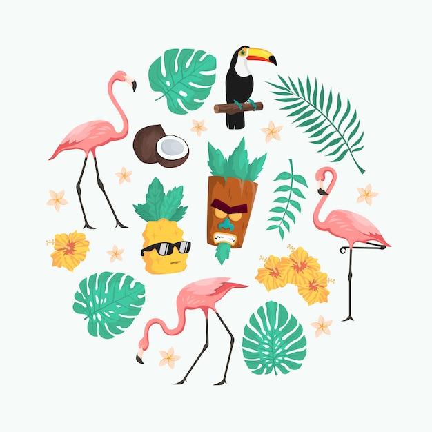 Lindo paquete de vectores de personajes de verano tropical Vector Premium