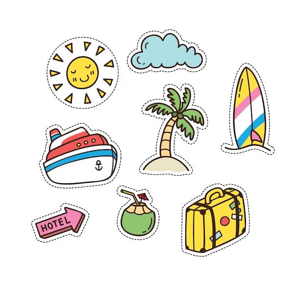 Lindo parche de verano y viajes Vector Premium