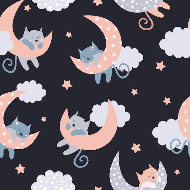 Lindo patrón sin costuras con gatos en la luna Vector Premium