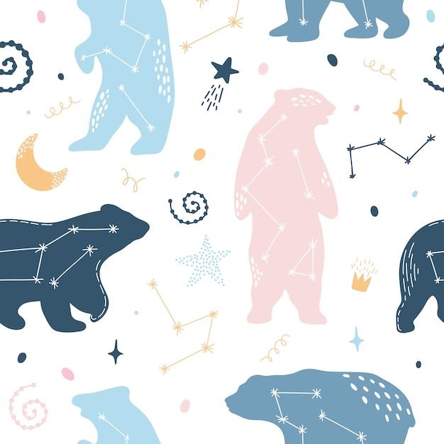 Lindo patrón sin costuras con osos constelaciones Vector Premium
