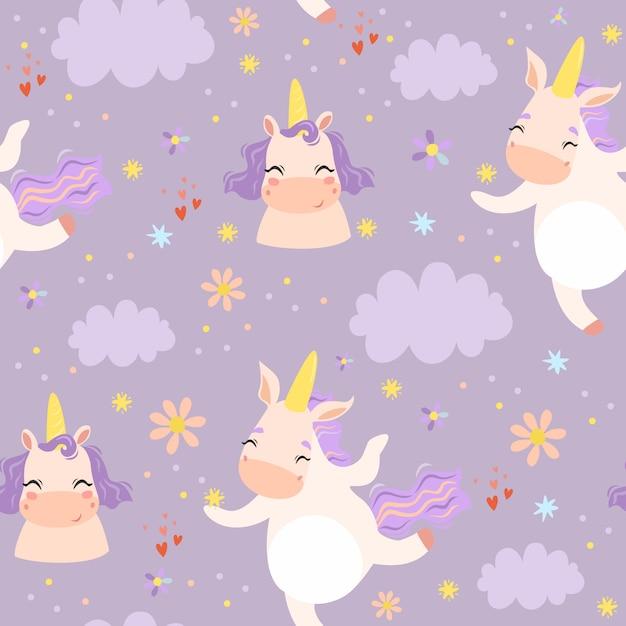 Lindo patrón sin costuras con unicornios en las nubes vector gratuito